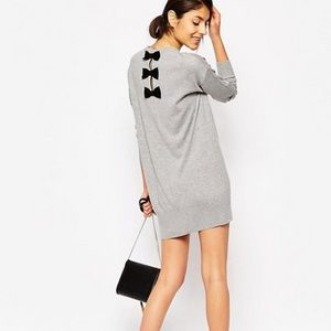 LOVE MOSCHINO SWEATER DRESS WITH BACK BOW DETAIL